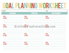 goal worksheet color