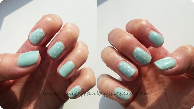 Artistic Colour Gloss Seafoam gel nails nail art polka dots