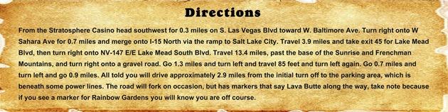 Directions - Lava Butte