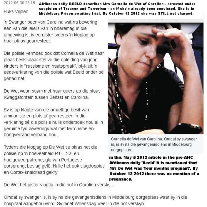 De Wet Cornelia PREJUDICED ARTICLE IN BEELD ABOUT ARREST ON CAROLINA FARM MAY 30 2012 BUKS VILJOEN