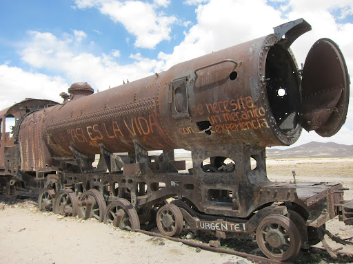 Old, rusting, steam engines.