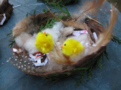 Natural Materials Easter Nests from Pre-School Play