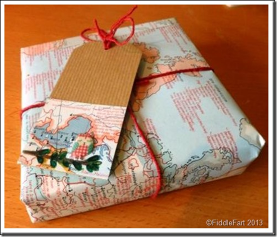 Using maps for wrapping paper and tags