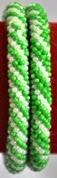 rollover bracelet stripe green white