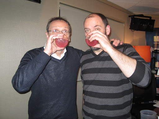 Bill and Sam enjoying their Friday cocktails!