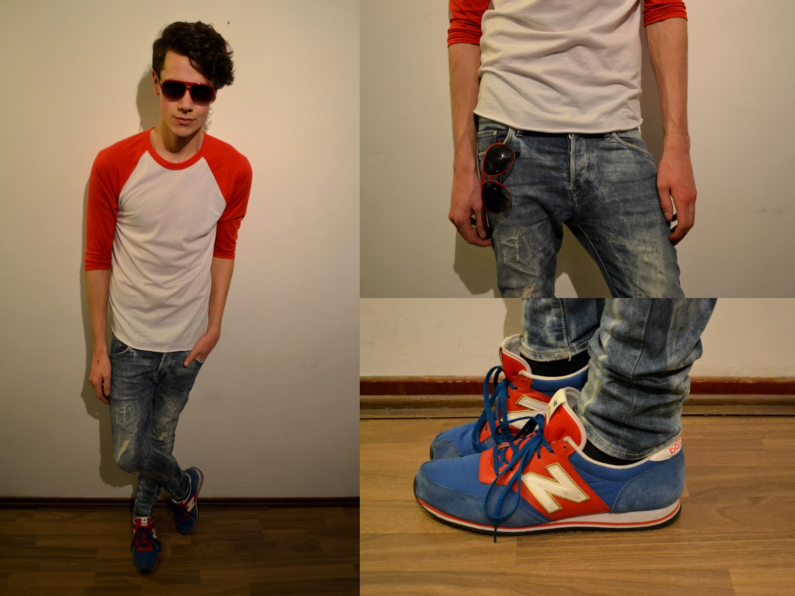 new balance 574 grey navy red and white tee