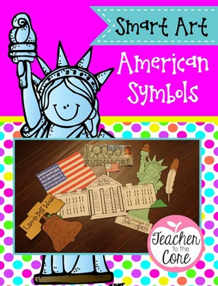 American Symbols Art from Teacher to the Core- Each project has an academic task making the art Smart Art