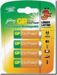 Flipkart: Buy Godrej GP EkoPower Rechargeable Battery(4) at Rs. 275 only (52% off)