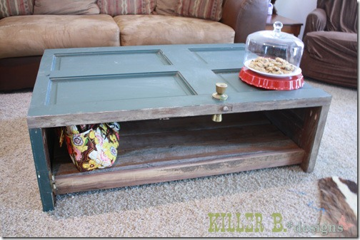 friday feature--reclaimed wood door coffee table from killer b designs blog