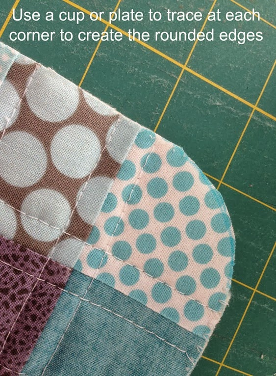 Scrappy Quilted Trivet - Rounded Edges Close