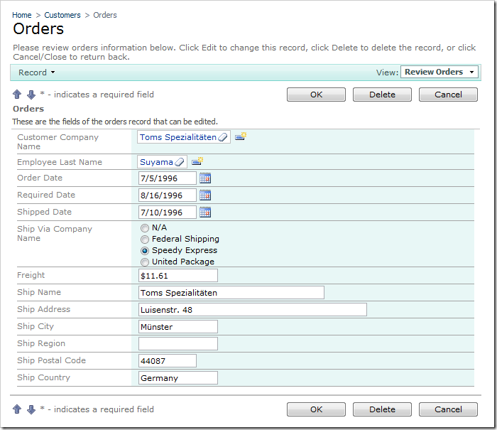 Ship Via Company Name field rendered as a Radio Button List on the Orders edit form.