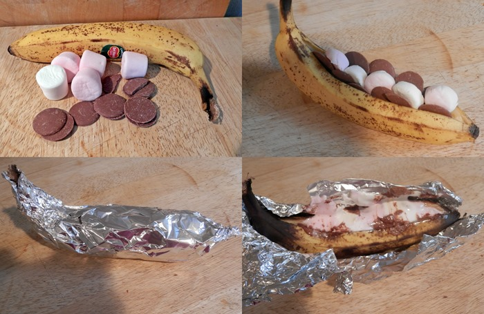 baked barbequed chocolate marshmallow banana-tile