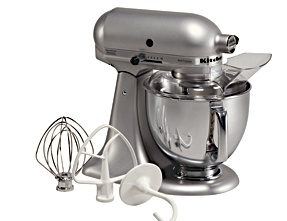 Another classic, the KitchenAid Artisan Tilt-Head Stand Mixer (www.kitchenaid.com).  I chose the silver metallic finish for my kitchen but there are 25 other great colors.