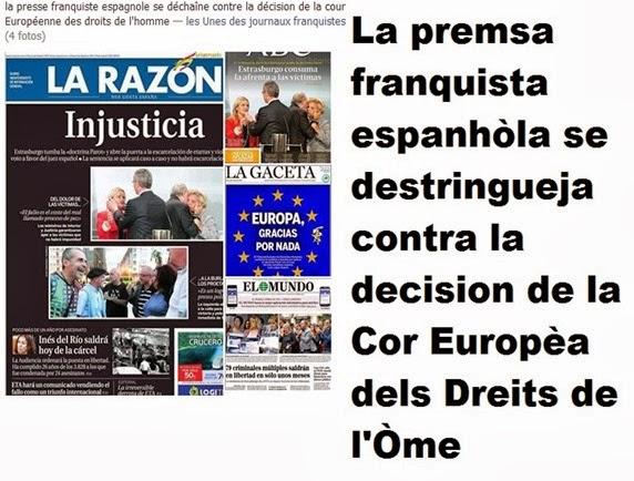 portada premsa franquista El Mundo, La Razón, ABC, La Gaceta
