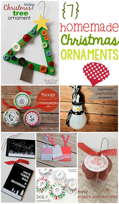 7 Homemade Christmas Ornaments at GingerSnapCrafts.com