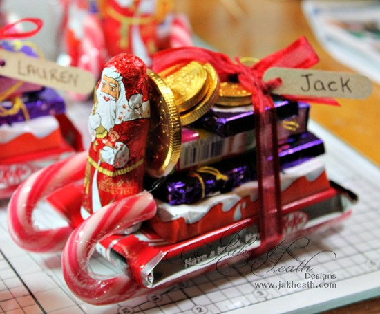 As you can see we have candy canes, KitKat, miniature Cadbury ...