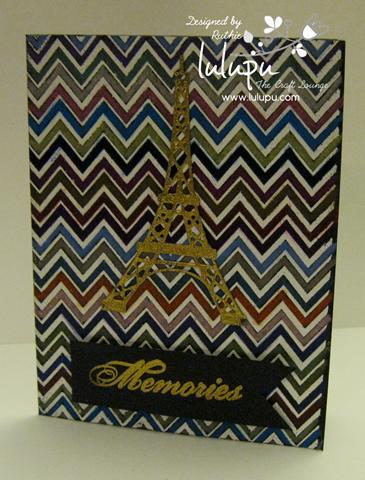 Embossing on black cardstock - watercolor pencils - Hero Arts stamp - Eiffel Towel - Lulupu The Craft Lounge - Ruthie Lopez DT 4