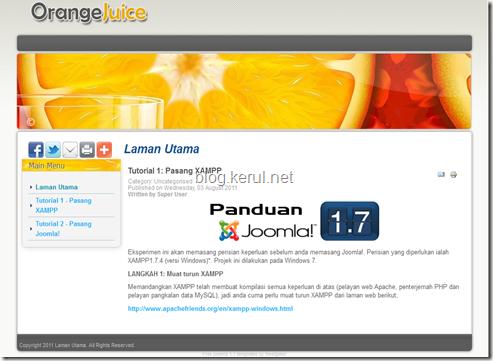 tukar templet Joomla 1.7 - laman web dengan templet Orange