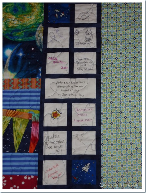 wonky star space quilt label