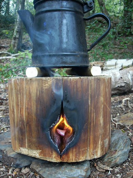 Making a log stove