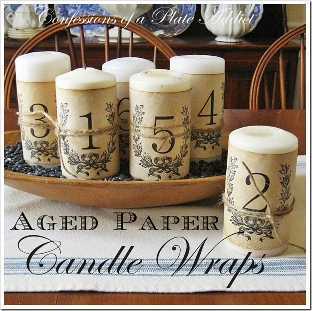 CONFESSIONS OF A PLATE ADDICT Aged Paper Frenchy Candle Wraps