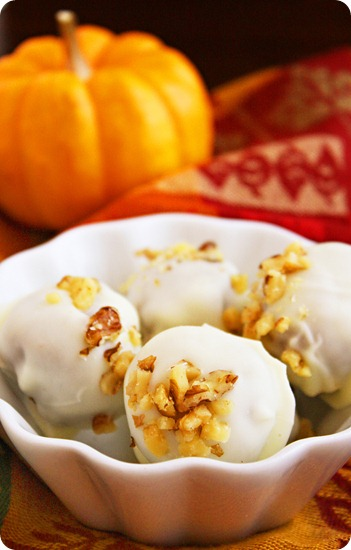 Pumpkin Cake Truffles with White Chocolate and Walnuts