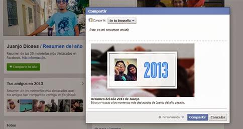 Cómo compartir tu resumen del año 2013 vía Facebook