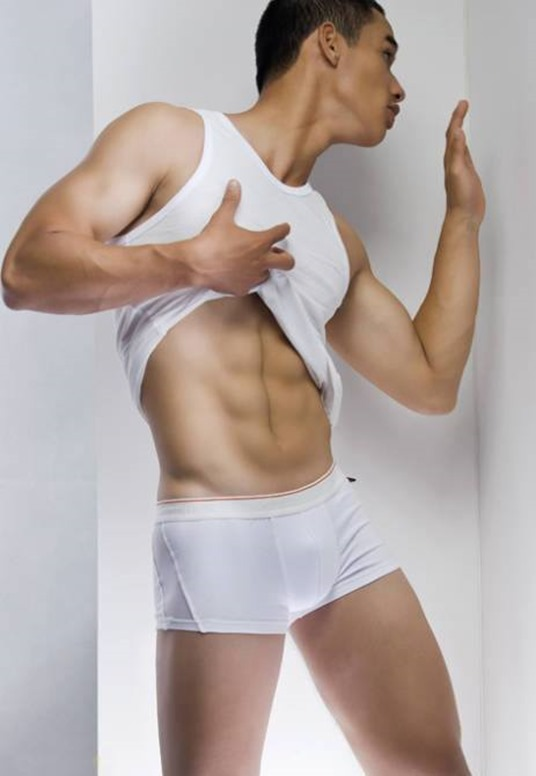 asian guy in white trunks
