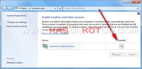 Enable Location and other sensors