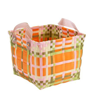 I love the cheerfulness of this basket. (A Tad Plaid, Land of Nod)