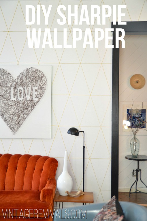 DIY Sharpie Wallpaper Tutorial @ Vintage Revivals