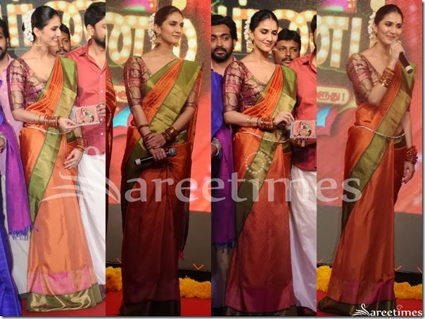 Vaani_Kapoor_Peach_Traditional_Silk_Saree