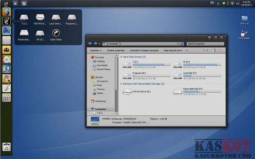 Mengubah Tampilan Windows 7 Mirip Linux - Gnome Skin Pack