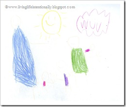 Goofy's drawing of our family (notice he stated spelling on his own - wuv =-)