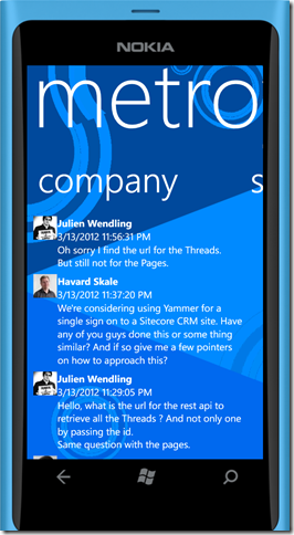 Screenshot of MetroYap on Windows Phone