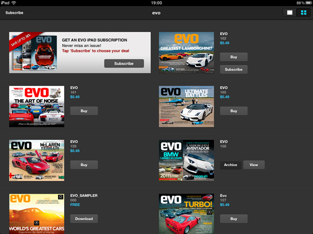 EVO magazine on iPad