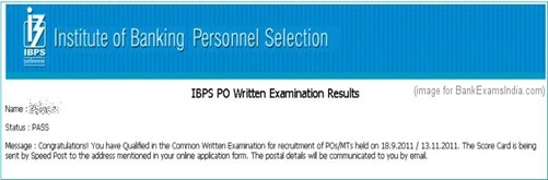 ibps common po exam results screenshot,ibps po exam results page,ibps common po exam results