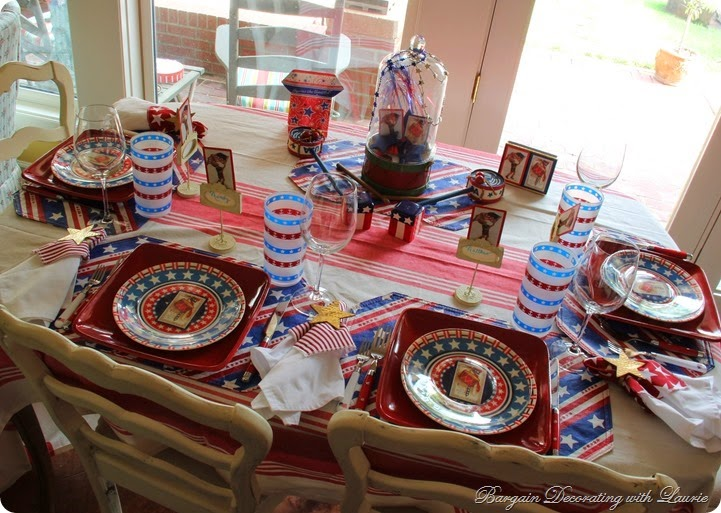 Drum theme patriotic table