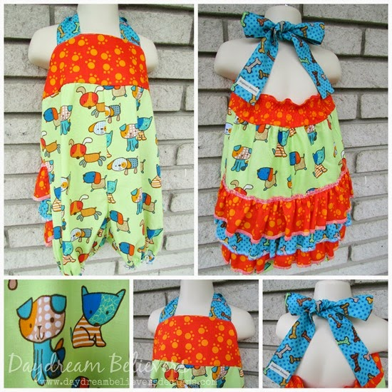 Puppy Dog Birthday Outfit Bubble Shorts Romper with Ruffles by Daydream Believers Designs collage