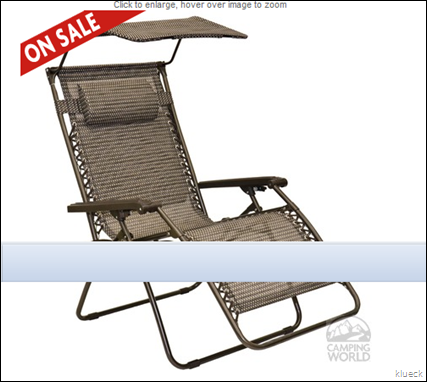 Large Mesh Canopy Recliner   Four Corners Sourcing ZD B831L10 H   Recliners   Camping World