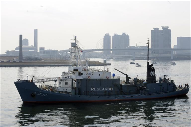 File photo taken on 12 March 2010 shows Japanese whaling vessel Shonan Maru No.2 in the Tokyo port. Photo: AFP