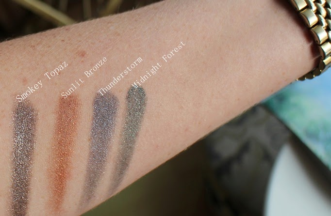 Bobbi-Brown-Long-Wear-Gel-Sparkle-swatches-Smokey-Topaz-Sunlit-Bronze-Midnight-Forest-Thunderstorm