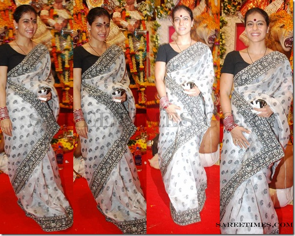 Kajol_White_Designer_Saree