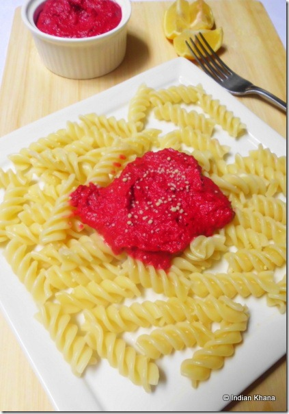 Pasta with beets pesto recipe