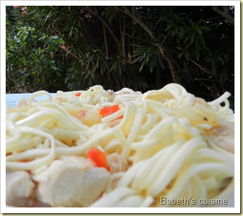 pâtes chinoises poulet ananas 3