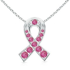 Round Pink Sapphire Ribbon of Hope Pendant in 14k White Gold