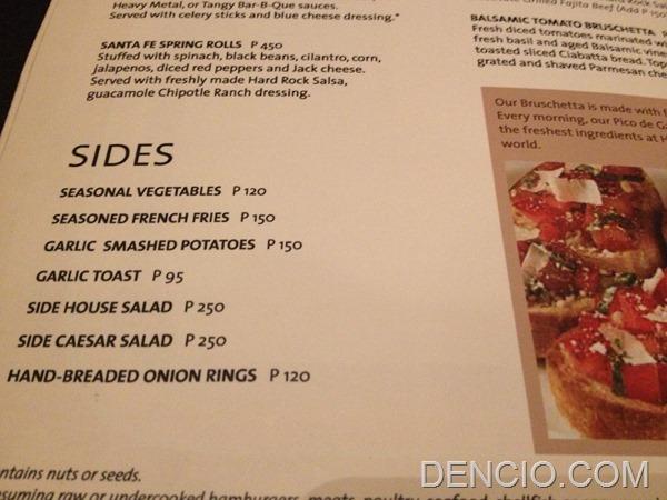 Hard Rock Cafe Makati Menu Prices 07