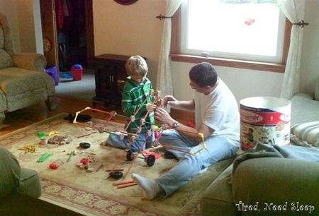 making a tinker toy airplane with Daddy
