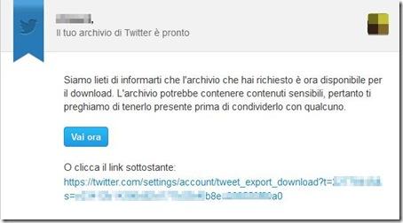 Email Il tuo archivio Twitter è pronto