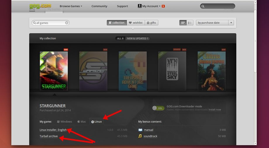GOG.com download game in Linux